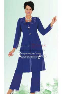 Royal blue chiffon pant suit for the grandmother of the bride nmo-178