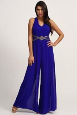 Royal blue chiffon prom jumpsuit wide legs pants wps-176