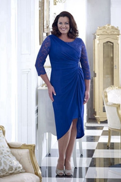 Royal blue lace Sheath Plus size Mother of the bride dress NMO-640