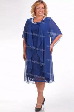 Royal Blue Mother Of The Bride Dress Plus Size Mid-Calf Women's Dresses nmo-726-4
