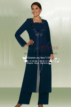 Plus size Classic dark navy chiffon mother of the birde pant suits with long jacket 3 piece dress for wedding nmo-204