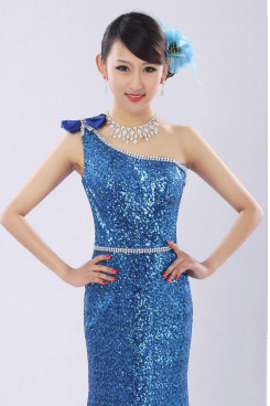 Royal Blue Sequins Sheath One Shoulder Prom Dresses customize np-0272