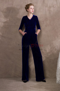 Royal Blue Velvet Womens Jumpsuit Special occasion Wear NP-0407