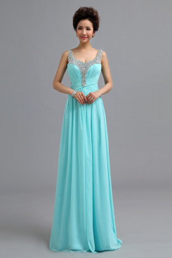 Scoop aqua Chiffon Prom Dresses Chest With Sequins Discount nm-0173