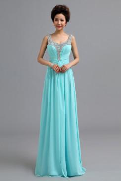 Scoop aqua Chiffon Prom Dresses Chest With Sequins Discount nm-0173