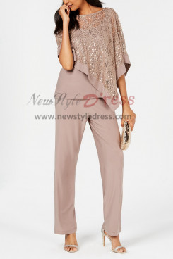khaki Sequins Lace Overlay Top Trousers set Women's outfits nmo-404