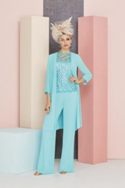 Jade Blue Mother of the bride pantsuit dresses with jacket nmo-555