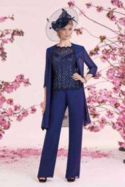 Sequins Mother of the bride pantsuit with jacket Navy nmo-554