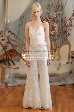 Charming Spaghetti bridal pantsuit Lace spring wedding jumpsuit dresses wps-015