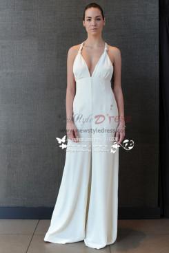 Sexy Deep V-neck chiffon bridal jumpsuit wps-089