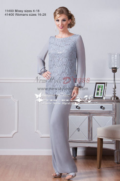 Silver grey chiffon beautiful mother of the bride pant suit 2PC outfit with lace New arrival Customize nmo-219
