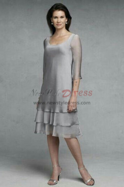 Silver Grey Modern Layered Knee-Length Mother Of The Bride Dresses nmo-358