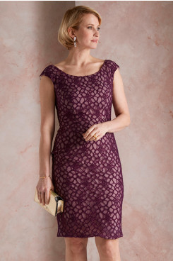 Simple Burgundy Lace Mother of the bride Dress wps-249