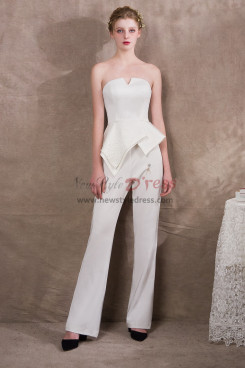 Simple Ivory Bridal Jumpsuits Italian satin New arrival NP-0408
