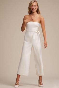 Strapless Simple Little White Dresses Bridal Jumpsuits wps-123
