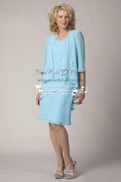 Sky blue chiffon Plus size mother of the bride dress with  jacket 2PC cms-072