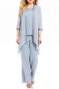loose sky blue Three pieces Mother of the bride pants suit with Elastic waist nmo-409