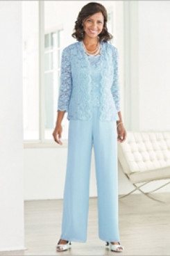 Sky blue Elegant Mother of the bride pant suit with jacket  Elastic waist High-end Trousers sets nmo-528
