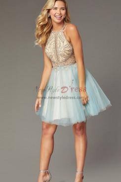 Sky Blue Glamorous Homecoming Dress, Hand Beading A-line Mini Dress sd-021