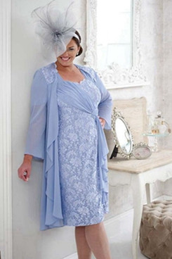 Sky blue Plus size Mother of the bride dress with jacket 2PC lace women's outfit NMO-641