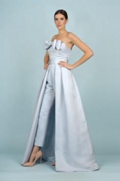 Sky Blue Satin Wedding pants Detachable Train Bridal Jumpsuit Gown wps-165