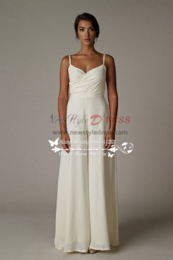 Spaghetti chiffon wedding jumpsuit Wide leg pants pantdress wps-006