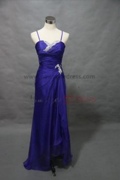 Spaghetti Hand-beading Chest with pleats Floor-Length Blue evening dresses np-0041