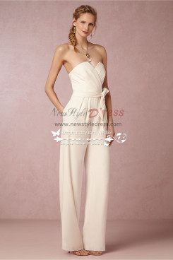 Strapless jumpsuit  with belt wedding dresses wps-059
