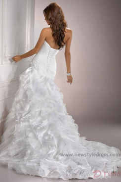 Sweetheart Chapel Train Ruffles Sheath Elegant wedding dress nw-0116