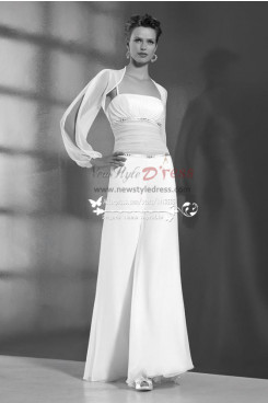 Two piece Chiffon bridal jumpsuit with jacket for beach wedding  wps-009