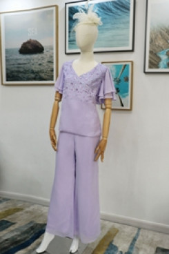 Two piece hand beading Mother of the bride pant suits dresses Lilac Real pic nmo-616