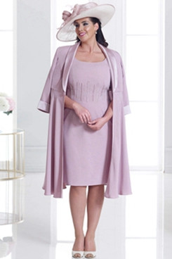 Two piece Plus size Mother of the bride dress With Jacket Pink Knee-Length NMO-642