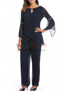 Two pieces Dark Navy Mother of the bride pant suits Chiffon dresses with Sleeves nmo-384