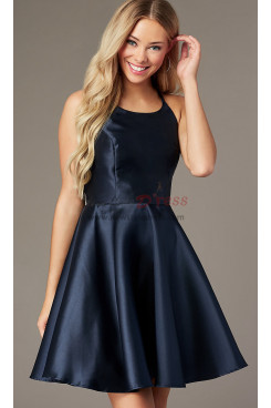 Under $100 Dark Blue A-line Homecoming Dress, Cross-Tie-Back Short Party Dress sd-025-1