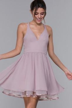 Under $100 Sweetheart Homecoming Dress, Lavender Chiffon Short Dreseses sd-024-1