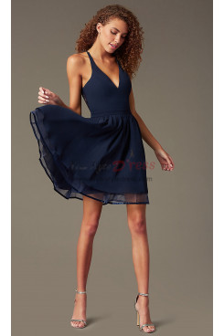 Under $100 Sweetheart Homecoming Dress,Dark Blue Chiffon Short Dreses sd-024-4