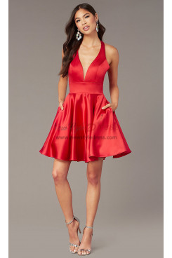 Red Under $100 V-neck Homecoming Party Dress,Above Knee Dreses with Pockets sd-029-2