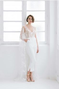 Lace Fashion V-neck Wedding dress Jumpsuits with pocket wps-206