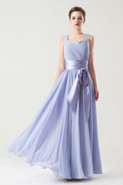 Vest A-Line purple blue Chiffon long Bridesmaids Dresses with Belt np-0266