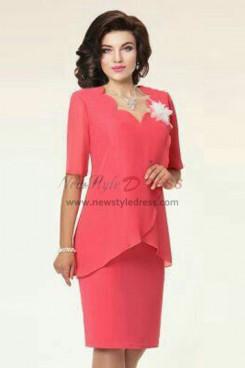 Watermelon Chiffon Ruffles Modern Mother Of The Bride Dresses nmo-592