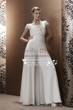 White Chiffon Wedding Jumpsuit Bridal Siamese Trousers Dresses Wps 087