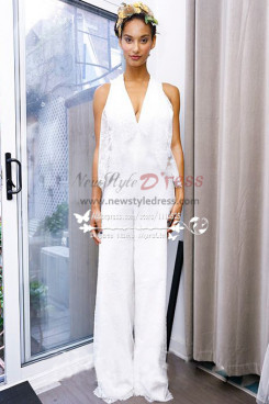 White lace bridal jumpsuit V-neck pantsuit dresses for wedding Custom made wps-086