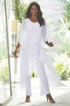 White New arrival Mother of the bride pantsuit dresses Chiffon Trousers outfits nmo-443