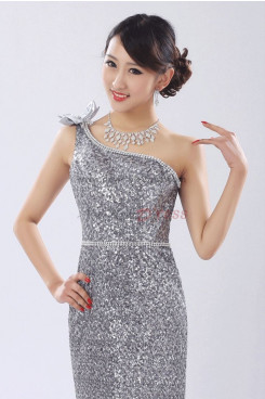 Silvery white Sequins Sheath Prom Dresses customize np-0270