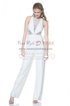 White wedding jumpsuit with crystals Custom made chiffon bridal pants wps-043