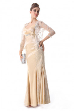 champagne Satin evening Dresses With sleeve Lace Jacket np-0206