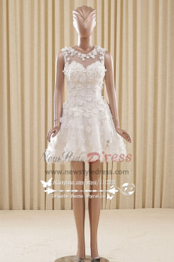 Ivory lace Homecoming dresses Mini skirt with ziper