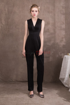 Women Black Charmeuse V-Neck Jumpsuits for special occasion NP-0422