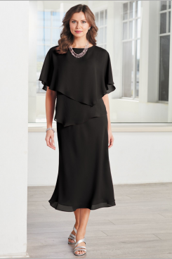 Black Mid-Calf Women Chiffon dress for special occasion nmo-483