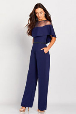 Women Jumpsuits dresses for Wedding party Navy pantsuit with beadding belt nmo-523